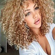 halpa -Naisten Synteettiset peruukit Keskikokoinen Kihara Vaaleahiuksisuus Sivuosa Otsatukalla Luonnollinen peruukki Rooliasu peruukki