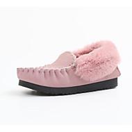 זול מוקסינים לנשים-נשים נעליים פרווה חורף סתיו נוחות נעליים ללא שרוכים שטוח ל קזו'אל שחור אפור ירוק ורוד