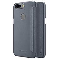 billiga Mobil cases & Skärmskydd-fodral Till OnePlus 5 Lucka Frostat Auto Sömn/Uppvakning Fodral Ensfärgat Hårt PU läder för One Plus 5 OnePlus 5T