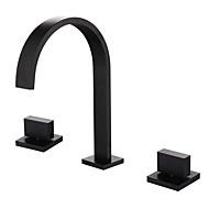 お買い得  割引蛇口-伝統風 組み合わせ式 組み合わせ式 セラミックバルブ 二つのハンドル三穴 オイルブロンズ, バスルームのシンクの蛇口