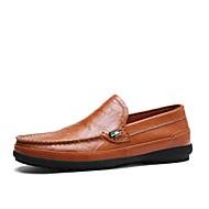 tanie Small Size Shoes-Męskie Buty Skóra Wiosna Lato Buty do nurkowania Mokasyny Mokasyny i pantofle na Casual Biuro i kariera Black Brown Niebieski Dark Brown