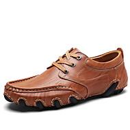 tanie Small Size Shoes-Męskie Buty Derma Skóra Wiosna Lato Comfort Tenisówki na Casual Black Dark Brown Khaki