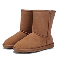 cheap Women's Boots-Women's Shoes Leather Winter Comfort / Snow Boots / Fluff Lining Boots Flat Heel Round Toe / Closed Toe Gray / Coffee / Camel