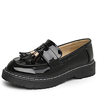 Women's Shoes PU Spring Fall Moccasin Loafers & Slip-Ons Low Heel Round Toe for Casual Office & Career Black Almond