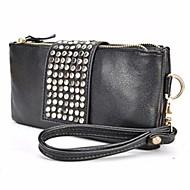 お買い得  クラッチバッグ&イブニングバッグ-女性用 バッグ PU / メタル クラッチ ジッパー ブラック