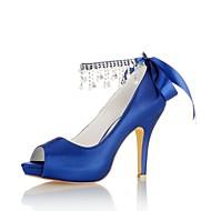baratos Sapatos Femininos-Mulheres Sapatos Cetim com Stretch Primavera / Verão Plataforma Básica Sapatos De Casamento Salto Agulha Peep Toe Cristais / Pérolas
