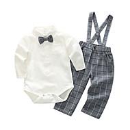 Dijete Dječaci Pamuk Poliester Jednobojni Karirani uzorak Dnevno Proljeće Dugi rukav Komplet odjeće Jednostavan Plava Obala