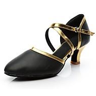 billige Moderne sko-Dame Moderne Kunstlær Høye hæler Innendørs Kustomisert hæl Svart og Gull Svart og Sølv Kan spesialtilpasses