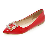 cheap Women's Flats-Women's Shoes PU Spring Summer Comfort Novelty Flats Flat Heel Pointed Toe Rhinestone for Party & Evening Office & Career White Black Red