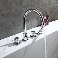 cheap Bathtub Faucets-Contemporary Tub And Shower Brass Valve Two Handles Four Holes Chrome, Bathtub Faucet