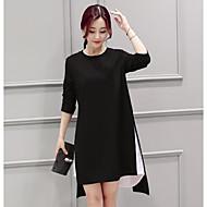 Mulheres Casual Simples Solto Assimétrico Vestido Estampa Colorida Decote Redondo Manga Longa Primavera Outono