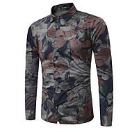 Homens Camisa Social Floral Algodão