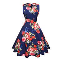 女性用 ワーク 祝日 ストリートファッション コットン シース スウィング ドレス フラワー 膝丈 ハイウエスト Uネック