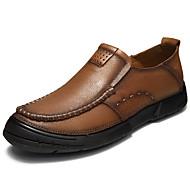 お買い得  メンズスリッポン&ローファー-男性用 靴 本革 春 夏 コンフォートシューズ ローファー&スリップアドオン のために カジュアル Brown カーキ色