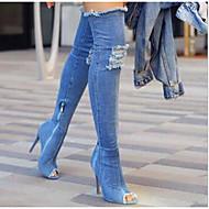 billige -Dame Sko Denim Vår Høst Komfort Trendy støvler Støvler Stiletthæl Titte Tå Lårhøye støvler til Avslappet Svart Mørkeblå Lyseblå