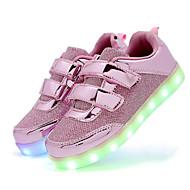 tanie Obuwie dziewczęce-Dla dziewczynek Obuwie Brokat / Syntetyczny Wiosna Wygoda / Świecące buty Tenisówki Haczyk i pętelka / LED na Złoty / Srebrny / Różowy