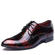 Herre Sko Kunstlæder Forår Efterår Formelle sko Komfort Oxfords Ankelstøvler Spænde for Office & Karriere Fest/aften Sort Rød Blå