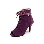 baratos Sapatilhas de Dança-Mulheres Botas de Dança Flocagem Botas Adorno Salto Agulha Personalizável Sapatos de Dança Preto / Roxo Escuro / Interior