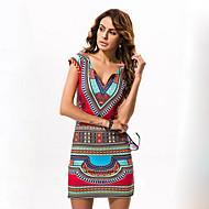 Mulheres Tubinho Vestido - Estampado Decote V Cintura Alta Mini