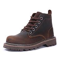 Hombre Zapatos Cuero Otoño / Invierno Confort / Botas de Moda Botas Botines / Hasta el Tobillo Azul Oscuro / Café / Marrón S0WEENhcrp