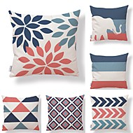 cheap Throw Pillows-6 pcs Textile Cotton/Linen Pillow Cover, Striped Geometric Leaf