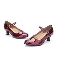 baratos Sapatilhas de Dança-Mulheres Sapatos de Dança Moderna Couro Salto Pérolas Salto Personalizado Personalizável Sapatos de Dança Vermelho