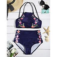 Dame Bikini Farveblok Blomstret Geometrisk Sport Snøre,Halterneck Polyester,Farveblok