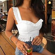 女性用 Tシャツ ストリートファッション ストラップ スリム ソリッド コットン / 春 / 秋 / ラッフル / スーパーセクシー