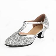 billige Moderne sko-Dame Moderne sko Paljett Høye hæler Tvinning / Strå Kustomisert hæl Kan spesialtilpasses Dansesko Gull / Sølv