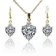 Women's Jewelry Set Gold Plated Simple, Fashion Include Pendant Necklace White For Wedding Daily
