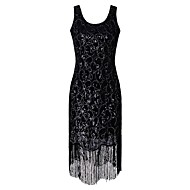 cheap -1920s The Great Gatsby Roaring Twenties Costume Women's Flapper Dress Black / Golden Vintage Cosplay Polyethylene Party Prom Short Sleeve Cap Sleeve / Sequins