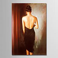 billiga Människomålningar-Hang målad oljemålning HANDMÅLAD - Människor Enkel Moderna Duk