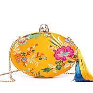 baratos Clutches & Bolsas de Noite-Mulheres Bolsas Seda Bolsa de Festa Detalhes em Cristal / Bordado / Mocassim Vermelho / Azul Escuro / Amarelo