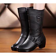 baratos Sapatos Femininos-Mulheres Sapatos Pele Napa / Pele Primavera / Outono Conforto / Botas da Moda Botas Salto Robusto Botas Cano Médio Preto