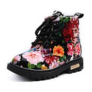 billige -Jente sko PU Vår Høst Komfort Trendy støvler Støvler Ankelstøvler til Avslappet Hvit Svart