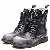 baratos Sapatos Masculinos-Homens Coturnos Pele Primavera / Outono Vintage Botas Botas Cano Médio Preto / Cinzento / Marron