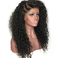Menneskehår Blonde Front Paryk Indisk hår Krøllet Jerry Krølle Med babyhår ubehandlet 100% Jomfru Natural Hairline Medium Lang 150%