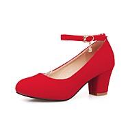 お買い得  レディースハイヒール-女性用 靴 ヌバックレザー 春 秋 ベーシックサンダル ヒール チャンキーヒール ラウンドトウ ラインストーン のために 結婚式 パーティー ブラック レッド