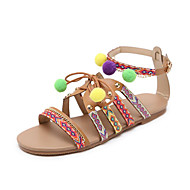 cheap Women's Sandals-Shoes Synthetic Microfiber PU Spring Summer Slingback Basic Pump Ankle Strap Sandals Flat Heel Open Toe Beading Ribbon Tie Animal Print