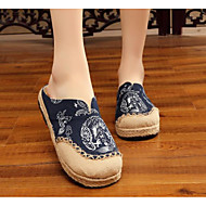 Women's Shoes Linen Spring / Fall Comfort Clogs & Mules Low Heel Blue