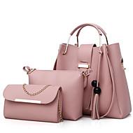 للمرأة أكياس البوليستر / PU مجموعات حقيبة 3 قطع محفظة مجموعة سحاب / شرابة البيج / رمادي / لون الجمل