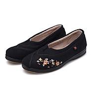 baratos Sapatos Femininos-Mulheres Sapatos Flanelado Primavera / Outono Conforto / Calçado vulcanizado Rasos Sem Salto Ponta Redonda / Dedo Fechado Apliques Preto