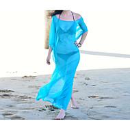 Dame Ensfarvet Bikini Badetøj Sexet Skulderfri Blå Hvid