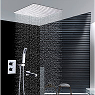 cheap Shower Faucets-Contemporary Wall Installation Rain Shower Handshower Included Thermostatic Ceramic Valve Two Handles Four Holes Chrome, Shower Faucet