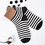 お買い得  靴用品-6ペア 女性用 ソックス ミディアム ストライプ 保温 汗吸収剤 デオドラント コットン EU36-EU42