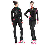 Figure Skating Jacket with Pants สำหรับผู้หญิง สเก็ตน้ำแข็ง Tracksuit สีดำ / สีน้ำเงิน + สีดำสีชมพู Elastane กำมะหยี่ Competition Skating Wear รักษาให้อุ่น แขนยาว การเล่นสเก็ต