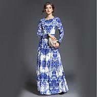 Mulheres Sofisticado Evasê balanço Vestido - Estampado, Geométrico Longo