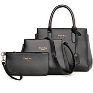 Mulheres Bolsas Couro Ecológico Poliéster Conjuntos de saco 3 Pcs Purse Set Ziper para Casual Escritório e Carreira Todas as Estações