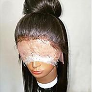 Žene Perike s ljudskom kosom Brazilska Ljudska kosa Perika s prednjom čipkom bez ljepila 130% Gustoća S mldom kosom Ravan kroj Perika Crna