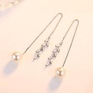 Dame Dråbeøreringe Kvadratisk Zirconium Mode Imiteret Perle Legering Bladformet Smykker Ceremoni Valentine Kostume smykker